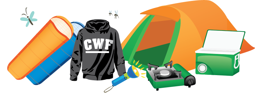 Illustration of camping gear